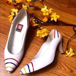 Ann Klein Shoe Women 7 White High Heel Close Toe